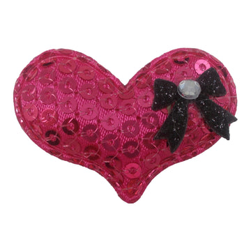 "Hot Pink Sequin Heart & Black Bow - 1.5"" Padded Applique"