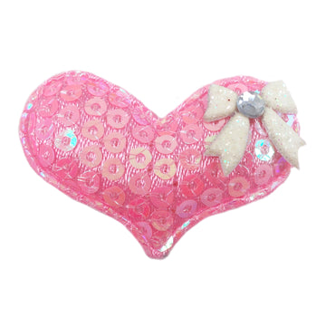 "Light Pink Sequin Heart & White Bow - 1.5"" Padded Applique"
