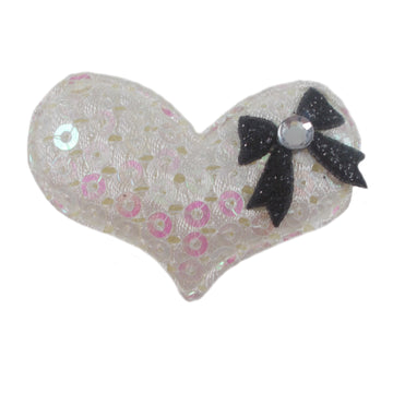 "Iridescent Sequin Heart & Black Bow - 1.5"" Padded Applique"