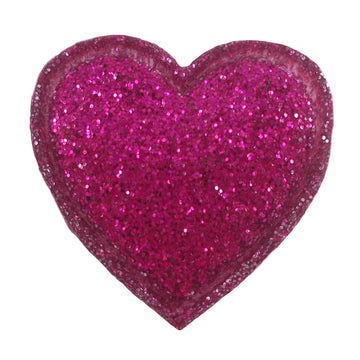"Hot Pink Glitter Heart - 3/4"" Padded Applique"