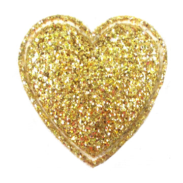 "Gold Glitter Heart - 3/4"" Padded Applique"