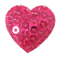 "Hot Pink Sequin Heart - 3/4"" Padded Applique"