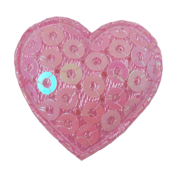 "Light Pink Sequin Heart - 3/4"" Padded Applique"