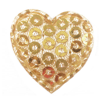 "Gold Sequin Heart - 3/4"" Padded Applique"