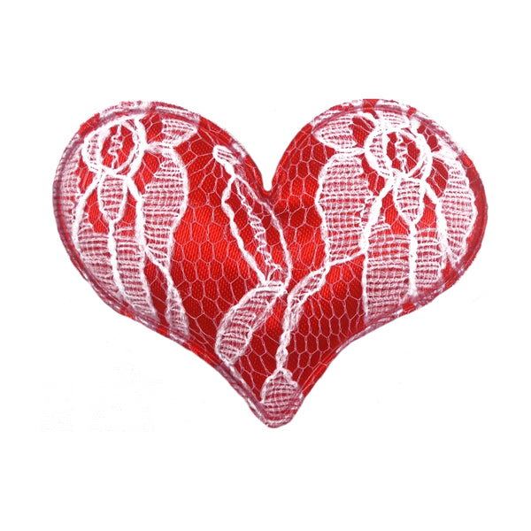 "Red Lace Heart - 2"" Padded Applique"