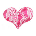 "Hot Pink Lace Heart - 2"" Padded Applique"