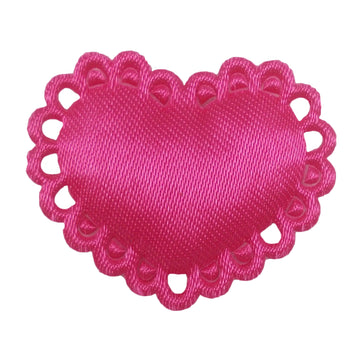 "Hot Pink Satin Heart - 1"" Padded Applique"