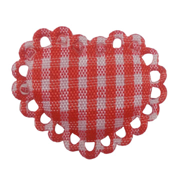 "Red Gingham Heart - 1"" Padded Applique"