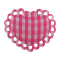 "Hot Pink Gingham Heart - 1"" Padded Applique"