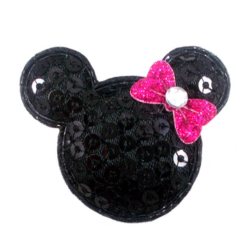 "Black Sequin Mouse & Hot Pink Bow - 1.5"" Padded Applique"