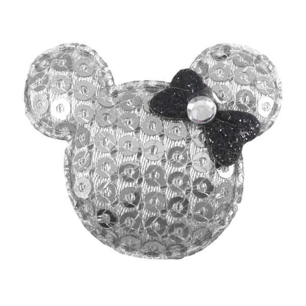 "Silver Sequin Mouse & Black Bow - 1.5"" Padded Applique"