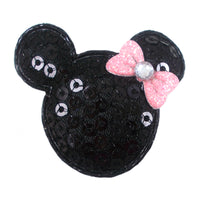 "Black Sequin Mouse & Light Pink Bow - 1.5"" Padded Applique"
