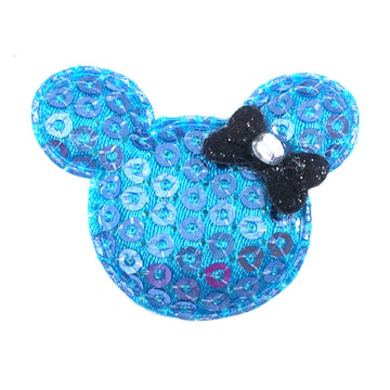 "Blue Sequin Mouse & Black Bow - 1.5"" Padded Applique"