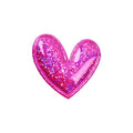 "Hot Pink Hologram Heart - 2"" Padded Applique"