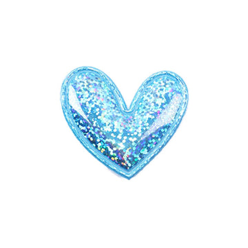 "Blue Hologram Heart - 2"" Padded Applique"