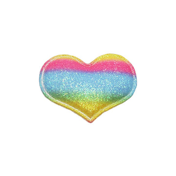 "Bright Rainbow Glitter Heart - 1.75"" Padded Applique"