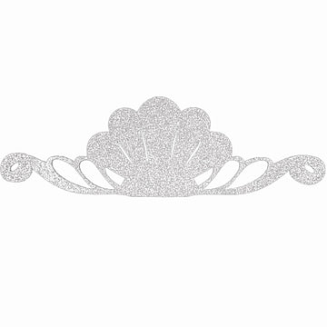 "Silver - 8"" Felt & Glitter Seashell Crown"