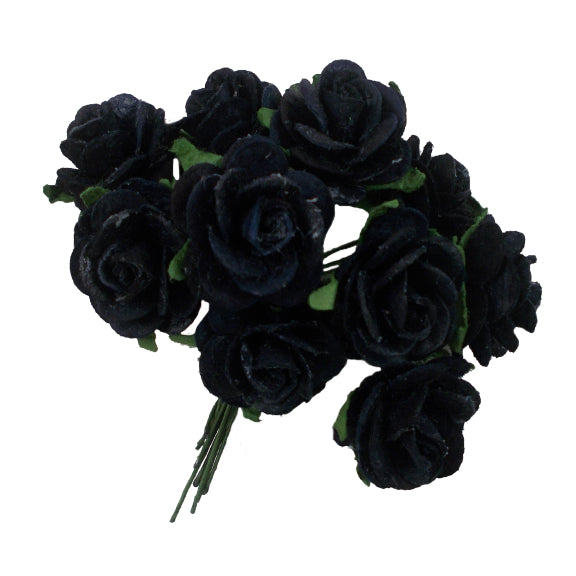 "Black - 3/4"" Mulberry Paper Roses"