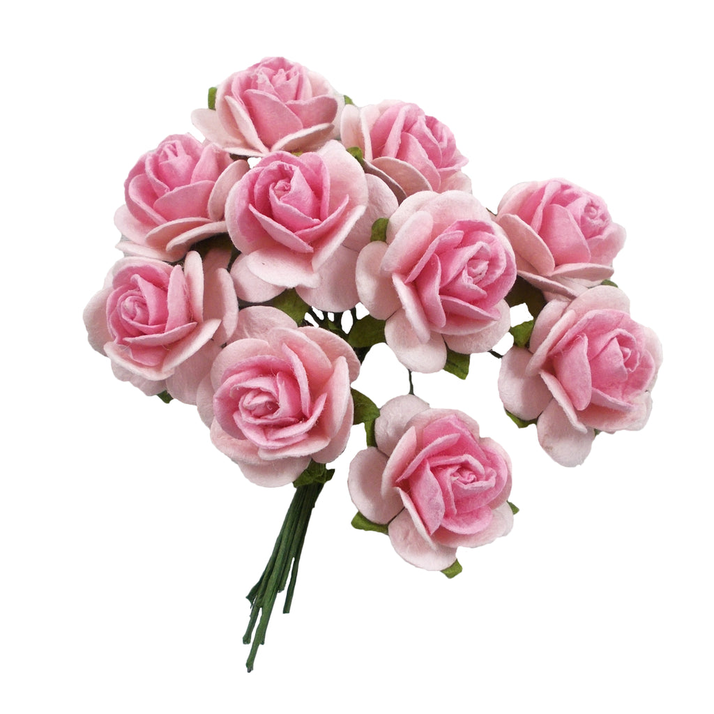 "Light Pink & Pink - 3/4"" Mulberry Paper Roses"