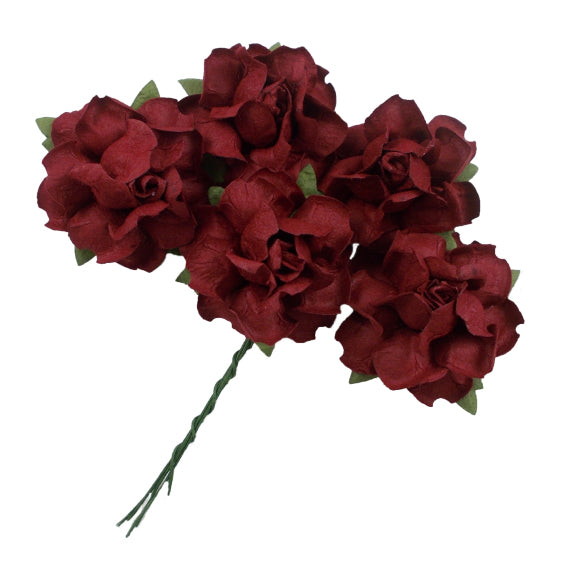 "Wine - 1.25"" Mulberry Paper Flowers"