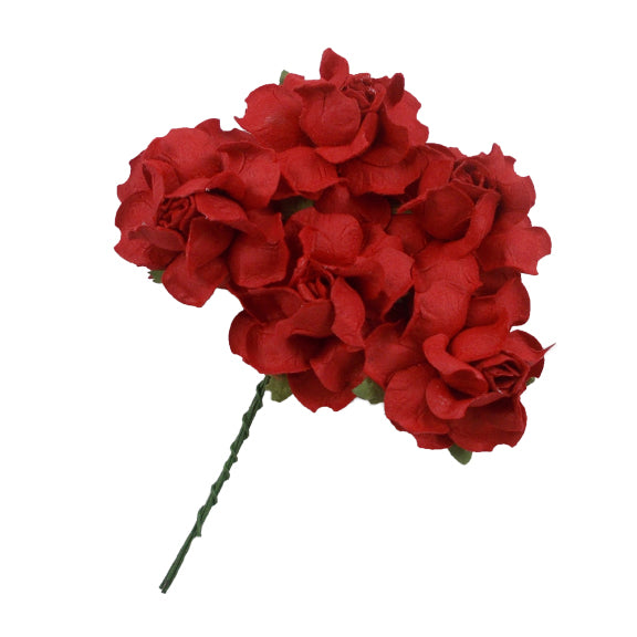 "Red - 1.25"" Mulberry Paper Flowers"
