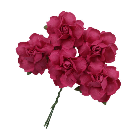 "Hot Pink - 1.25"" Mulberry Paper Flowers"