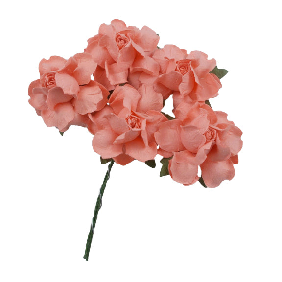 "Peachy Pink - 1.25"" Mulberry Paper Flowers"