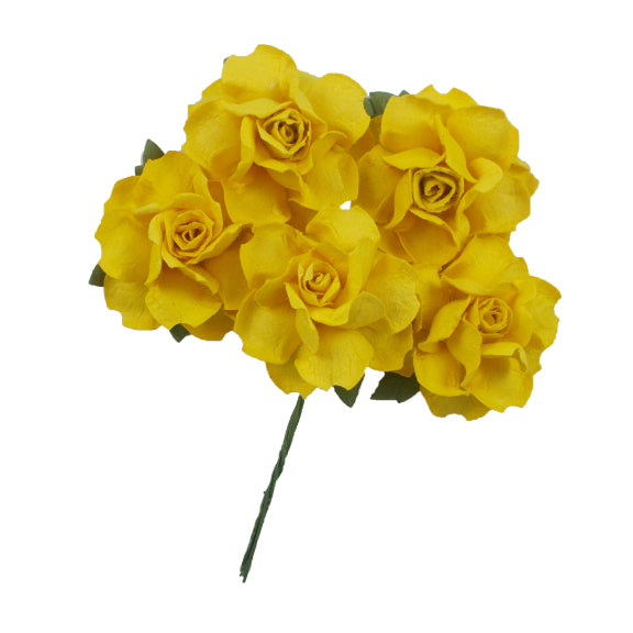 "Yellow - 1.25"" Mulberry Paper Flowers"