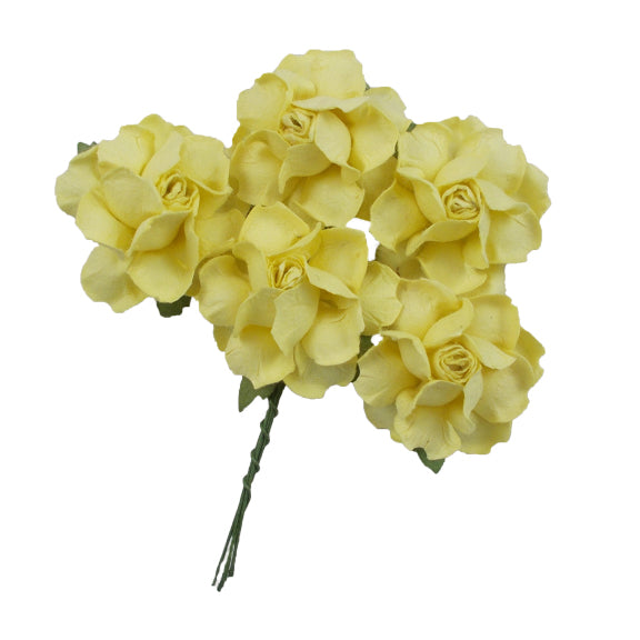 "Light Yellow - 1.25"" Mulberry Paper Flowers"