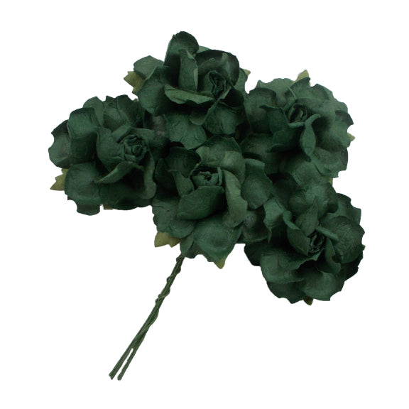 "Hunter Green - 1.25"" Mulberry Paper Flowers"