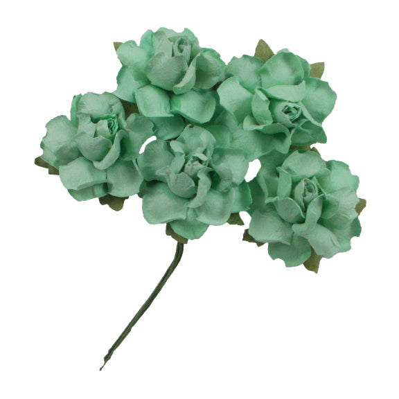 "Mint Green - 1.25"" Mulberry Paper Flowers"