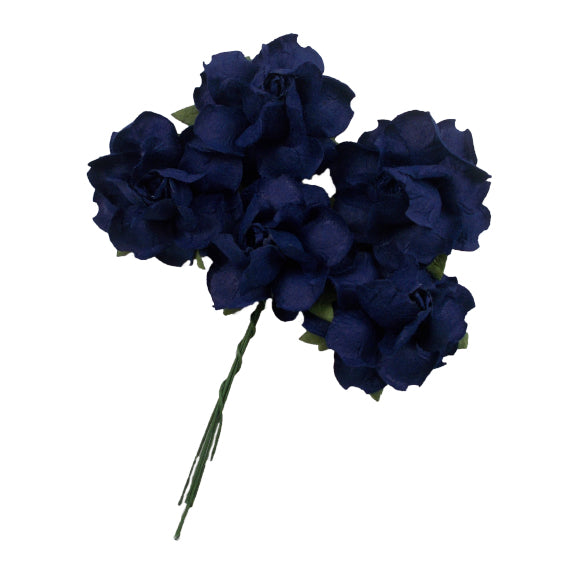"Navy Blue - 1.25"" Mulberry Paper Flowers"