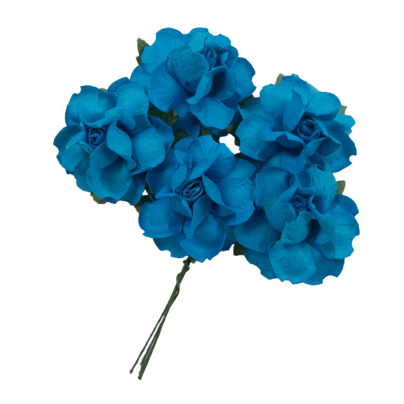 "Turquoise - 1.25"" Mulberry Paper Flowers"