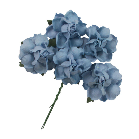 "Vintage Blue - 1.25"" Mulberry Paper Flowers"