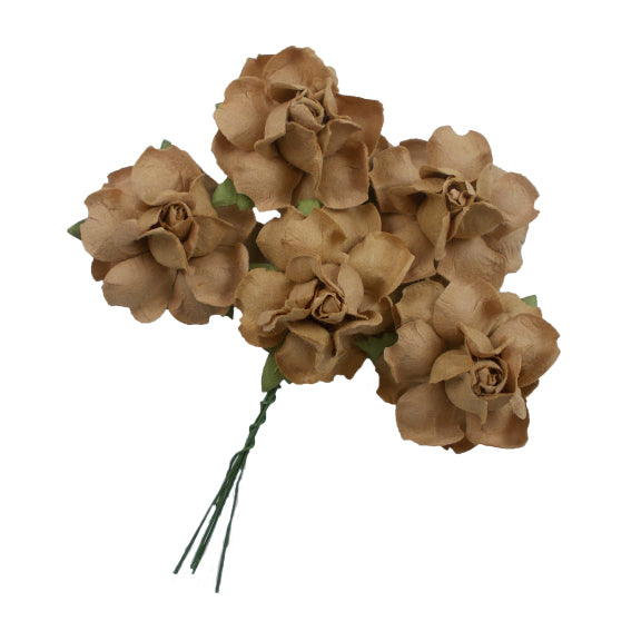 "Tan - 1.25"" Mulberry Paper Flowers"
