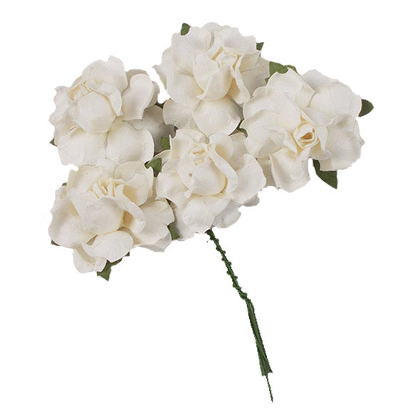 "White - 1.25"" Mulberry Paper Flowers"