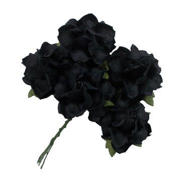 "Black - 1.25"" Mulberry Paper Flowers"