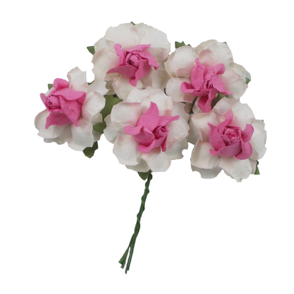 "White & Pink - 1.25"" Mulberry Paper Flowers"