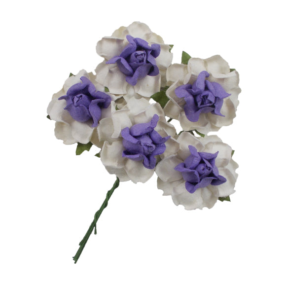 "White & Purple - 1.25"" Mulberry Paper Flowers"
