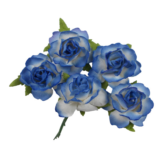 "Royal Blue Dipped - 1.25"" Mulberry Paper Flowers"