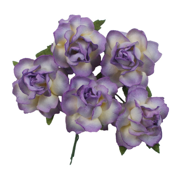 "Purple Dipped - 1.25"" Mulberry Paper Flowers"