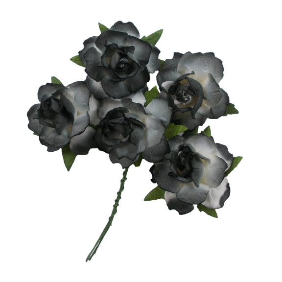 "Black Dipped - 1.25"" Mulberry Paper Flowers"