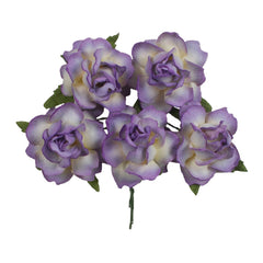 "Antique Lavender Dipped - 1.25"" Mulberry Paper Flowers"