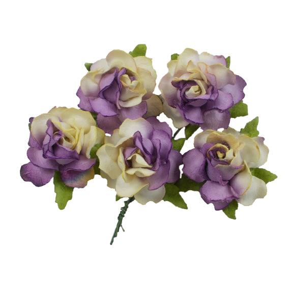 "Yellow & Lavender Split - 1.25"" Mulberry Paper Flowers"