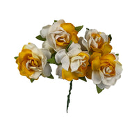 "White & Yellow Split - 1.25"" Mulberry Paper Flowers"