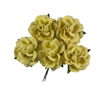 "Light Yellow - 1.5"" Premium Paper Roses"