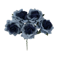 "Winter Blues - 1.5"" Premium Paper Roses"