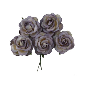 "Antique Lavender Dipped - 1.5"" Premium Paper Roses"