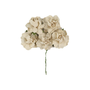 "Antique Ivory - 1.25"" Mulberry Paper Flowers"