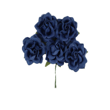"Dark Denim - 1.5"" Premium Paper Roses"